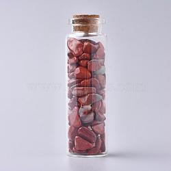 bouteille en verre qui souhaitent, pour la décoration de pendentif, avec perles de copeaux de jaspe rouge à l'intérieur et bouchon en liège, 22x71 mm(DJEW-L013-A01)