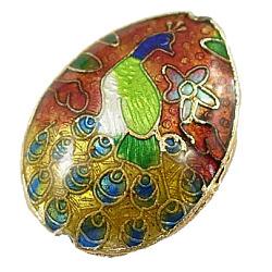perles en cloisonné main, déposer, rouge et jaune, sur 24 mm de long, 18 mm de large, 7.5 mm d'épaisseur, trou: 1 mm(X-CLB117Y-1)