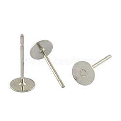 304 Stainless Steel Flat Round Blank Peg Stud Earring Findings, Stainless Steel Color, 12x4mm, Pin: 0.6mm(X-STAS-S028-23)