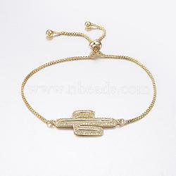 """Bracelets réglables en laiton à micro-pavé de zircons cubiques, Bracelets coulissants, avec des chaînes de boîte en laiton, cactus, or, 10-5/8"""" (270 mm)(BJEW-G586-12G)"""