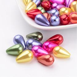 Abs en plastique mélangé perles d'imitation de perles, 15x9mm, Trou: 1mm(X-MACR-G003-M)