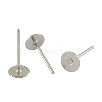 Accessoires clou d'oreille vierge ronde et plate en 304 acier inoxydable, couleur inoxydable, 12x4mm, pin: 0.6 mm(X-STAS-S028-23)
