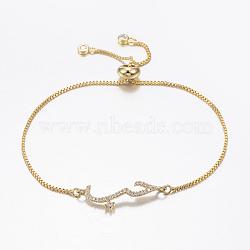bracelets réglables en laiton à micro-pavé de zircons cubiques, bracelets de slider, avec des chaînes de boîte en laiton, or, 10-5 / 8 (270 mm)(BJEW-G586-05G)