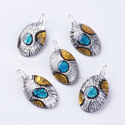 Handmade Silver Foil Lampwork Pendants, Large Hole Pendants, Oval, Black, 52x27x11~11.5mm, Hole: 6.5mm(LAMP-J090-N01)