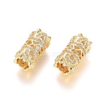Brass Micro Pave Clear Cubic Zirconia European Beads, Large Hole Beads, Column, Golden, 15.5x8mm, Hole: 5mm(X-OPDL-L016-03B-G)
