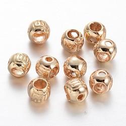 Tour de placage d'or léger en laiton 3 trou gourou perles, perles t-percées, 6x5mm, Trou: 1.2mm(KK-M189-05)