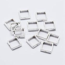 925 monture de perles en argent sterling, carrée, argenterie, 10x10x2mm, trou: 0.8 mm; intérieure: 8x8 mm(STER-F036-16S-10x10mm)
