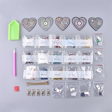 DIY Diamond Painting Stickers Kits For Key Chain Making, with Diamond Painting Stickers, Resin Rhinestones, Diamond Sticky Pen, Lobster Clasps, Chain, Tray Plate and Glue Clay, Heart, Mixed Color, 65x66x2mm(DIY-R076-008)