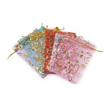 Heart Printed Organza Bags, Wedding Favour Bags, Gift Bags, Rectangle, Mixed Color, 18x13cm; 6colors, 5pcs/color, 30pcs/set(OP-X0001-06)
