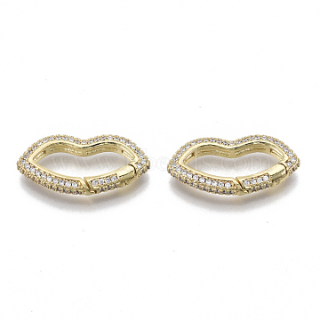 Brass Micro Pave Cubic Zirconia Spring Gate Rings, Nickel Free, Lip, Real 16K Gold Plated, Clear, 14x27x4mm; Inner Diameter: 20x6mm(ZIRC-S066-032B-NF)