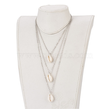 Cowrie Shell Tiered Necklaces(NJEW-JN02295)-4