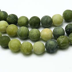 Round Frosted Natural TaiWan Jade Bead Strands, 8mm, Hole: 1mm; about 48pcs/strand, 15.5 inches