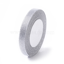 Glitter Metallic Ribbon, Sparkle Ribbon, DIY Material for Organza Bow, Double Sided, Silver Metallic Color, Size: about 1/2