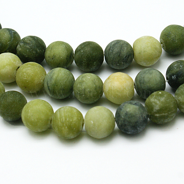 Round Frosted Natural TaiWan Jade Bead Strands, 8mm, Hole: 1mm, about 48pcs/strand, 15.5 inches(X-G-M248-8mm-02)