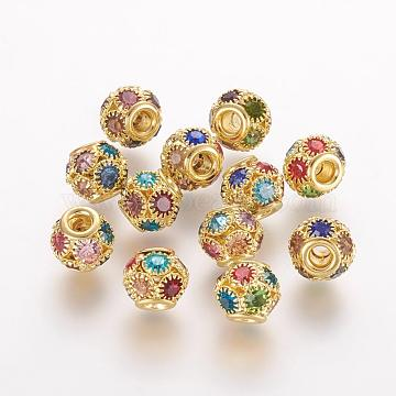 Brass Beads, with Grade A Rhinestone, Rondelle, Golden, Colorful, 10x9mm, Hole: 2.5mm(RB-K050-10mm-A02)