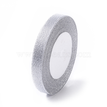 Glitter Metallic Ribbon, Sparkle Ribbon, DIY Material for Organza Bow, Double Sided, Silver Metallic Color, Size: about 1/2 inch(12mm) wide, 25yards/roll(22.86m/roll)(X-RS12mmY-S)