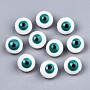 Natural Freshwater Shell Beads, with Enamel, Enamelled Sequins, Flat Round with Evil Eye, Light Sea Green, 8x4.5mm, Hole: 0.8mm