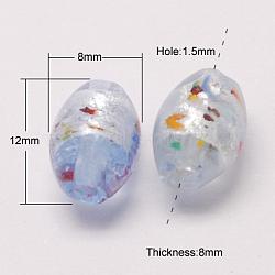 Perles vernissées de feuille en argent manuelles, riz, clair, 12x8mm, Trou: 1.5mm(X-FOIL-S004)