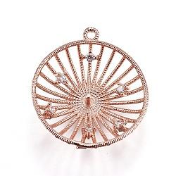Pendentifs en laiton, avec zircons, pour la moitié de perles percées, demi-rond, clair, or rose, 22x20x5mm, trou: 1.2 mm; broches: 1 mm(KK-L177-10RG)