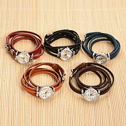 3-Loop Leather Platinum Plated Alloy Quartz Wrap Bracelet Watches, with Alloy Clasps, Mixed Color, 610x8mm(WACH-F010-01)