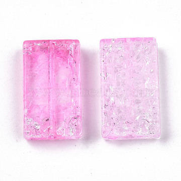 Transparent Crackle Acrylic Beads, Rectangle, Pearl Pink, 25x14x5mm, Hole: 1.2mm(X-CACR-N003-41B)