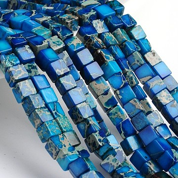 Dyed & Heated Natural Imperial Jasper Cube Beads Strands, Royal Blue, 4~5x4~5x4~5mm, Hole: 1mm; about 195pcs/strand, 16 inches.(X-G-M273-01-4mm)