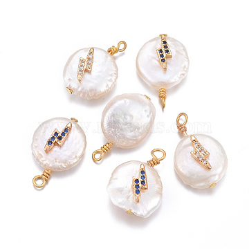 Natural Cultured Freshwater Pearl Pendants, with Brass Micro Pave Cubic Zirconia Findings, Nuggets with Lightning Bolt, Golden, Mixed Color, 17~26x11~16x5~11mm, Hole: 1.6~2mm(PEAR-L027-28)
