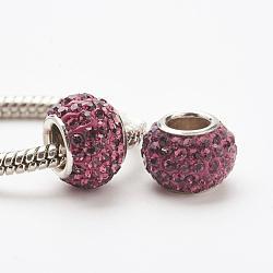 Perles européennes en cristal autrichien, Perles avec un grand trou   , le noyau en argent 925, rondelle, 204 _améthyste, 11~12x7.5mm, Trou: 4.5mm(STER-E049-E23)