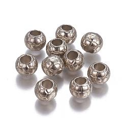 Perles européennes en plastique CCB, rondelle, platine, 10x8.5mm, Trou: 5mm(CCB-F017-03P)