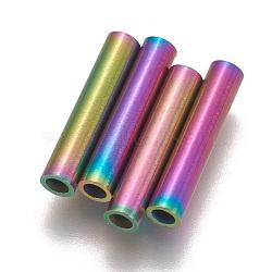 Perles de tube en 304 acier inoxydable, multicolore, 15x3mm, Trou: 2mm(STAS-L216-23F-M)