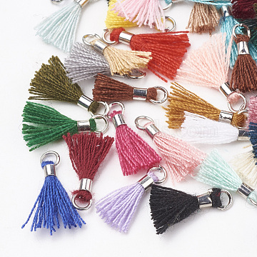 Polycotton(Polyester Cotton) Tassel Pendant Decorations, Mini Tassel, with Brass Findings, Platinum, Mixed Color, 10~15x3~4mm, Hole: 2mm(X-FIND-S275-P-M)