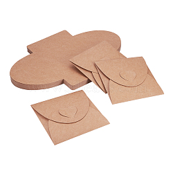 Vintage Square Heart Buckle CD Envelopes, Kraft Paper CD Bags, BurlyWood, 32.5x20cm(X-DIY-WH0092-01)
