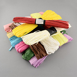 Raffia Paper Rope Cord for DIY, Mixed Color, 5mm, about 54.68 yards(50m)/roll; 12rolls/bag(DIY-S003-06)
