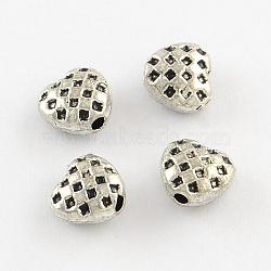Supports coeur alliage perle de strass de style tibétain, sans plomb et sans nickel, argent antique, s'adapter pour 0.5~1 mm strass; 6x6x3.5 mm, Trou: 1.5mm(X-TIBEB-Q060-054-FF)