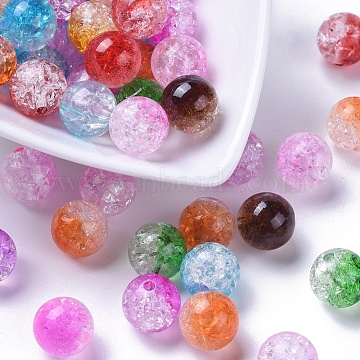 Two Tone Transparent Crackle Acrylic Beads, Half Spray Painted, Round, Mixed Color, 12mm, Hole: 2.5mm; about 528pcs/500(CACR-R009-12mm-M)