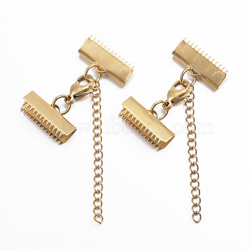 Vacuum Plating 304 Stainless Steel Lobster Claw Clasps, with Ribbon Ends, Golden, 20mm(X-STAS-E052-46G)