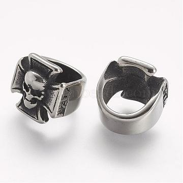 Antique Silver Skull Stainless Steel Slide Charms