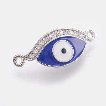Real Platinum Plated Blue Eye Brass+Enamel Links