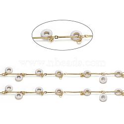 Laiton chaînes de liaison de barre, avec breloques en émail et bobine, soudé, Plaqué longue durée, donut, or, blanc, 15x1mm(CHC-I027-10H)