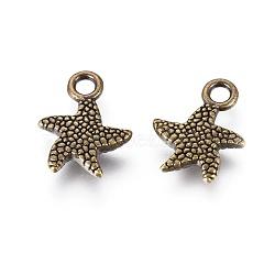 pendentifs de style tibétain, étoiles de mer, sans cadmium et sans nickel et sans plomb, bronze antique, 16.5x12.5x2.5 mm, trou: 1.5 mm(X-TIBEP-K020-58AB-NF)