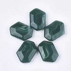 perles acryliques, style de pierres précieuses imitation, facettes, polygone, sarcelle, 33x48x13 mm, trou: 2.5 mm(OACR-T011-165A)