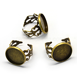 Adjustable Iron Filigree Ring Settings, Flat Round, Size 9, Antique Bronze, Tray: 18mm; 19.5mm(X-MAK-Q006-20)