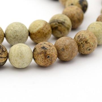 naturelle jaspe d'image rangées de perles rondes, 6 mm, trou: 1 mm; environ 63 perle / brin, 15(X-G-G-P070-55-6mm)