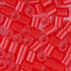 1 boîte 5 mm perles fondantes pe bricolage en perles à repasser recharges perler perles pour les enfants, Tube, rouge, 5x5mm, trou: 3 mm; environ 500 / boîte(DIY-X0047-84-B)