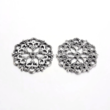 Tibetan Style Filigree Joiners Links, Lead Free, Flower, Antique Silver, 29x1mm, Hole: 1.2mm(X-TIBE-A11623-AS-LF)