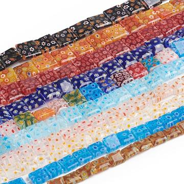 Handmade Millefiori Glass Bead Strands, Square & Rectangle, Mixed Color, 6~30x6~30x3~6.5mm, Hole: 1~2mm; about 15~66pcs/strand, 15.5 inches~17.3 inches(39.5~44cm)(LK-F009-03)