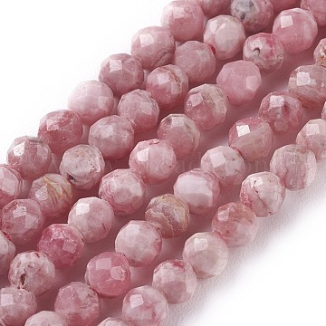 Natural Argentina Rhodochrosite Beads Strands, Faceted, Round, 4mm, Hole: 0.6mm; about 108pcs/strand, 15.15inches~15.23inches(38.5~38.7cm)(G-I256-07A)