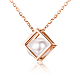 TINYSAND 925 Sterling Silver Cube Pearl Pendant Necklaces(TS-N266-RG)-1