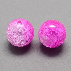 Perles acryliques craquelées transparentes à deux tons, moitié peint à la bombe, rond, magenta, 8mm, trou: 2 mm; environ 1892 pcs / 500 g(CACR-R009-8mm-03)