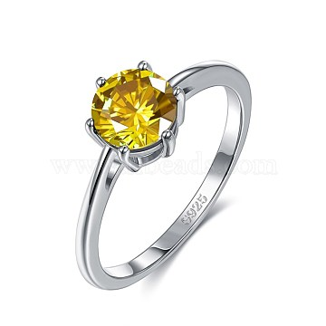 925 Sterling Silver Finger Rings, with Cubic Zirconia, Yellow, Platinum, Size: 12, 21.4mm(RJEW-BB35085-D12)